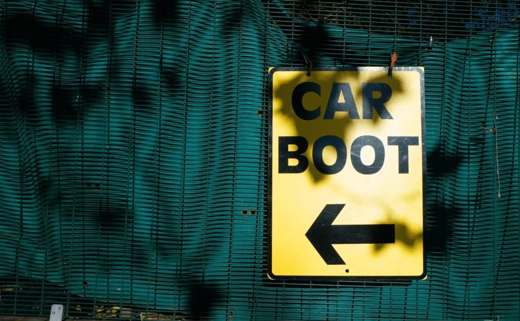 Car boot sign for blue self storage downsizing blog