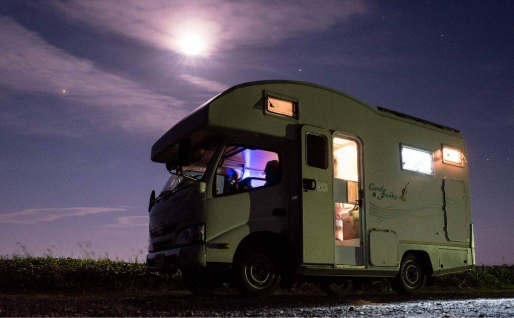 Vintage campervan parked at night for winter caravan storage blog