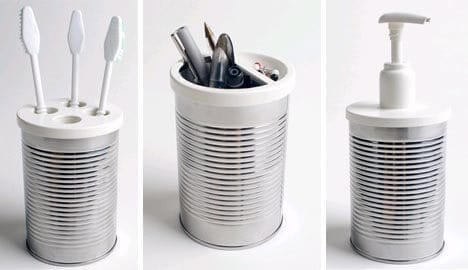 recycling ideas and storage solutions - up-cycled tin cans