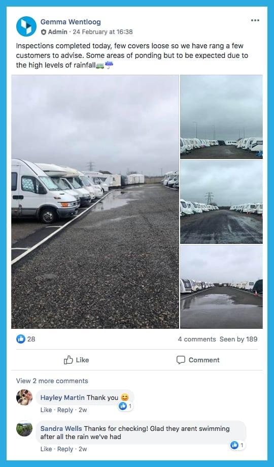 Join the blue self storage caravan & motorhome storage group on Facebook