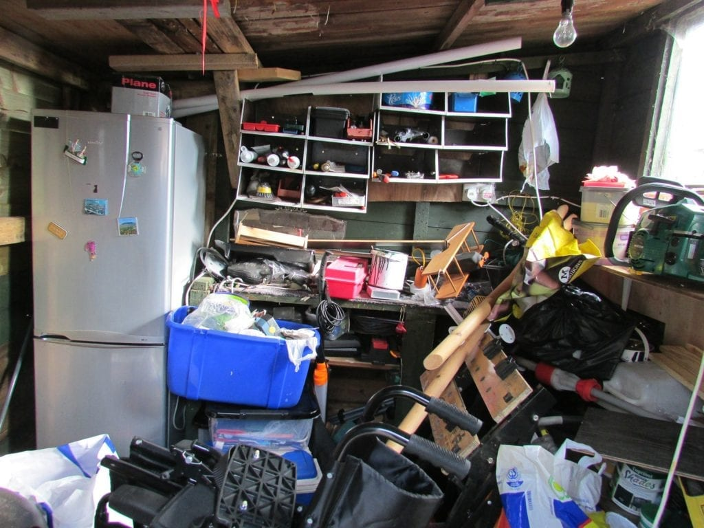 Clutter and mess in someone's garage